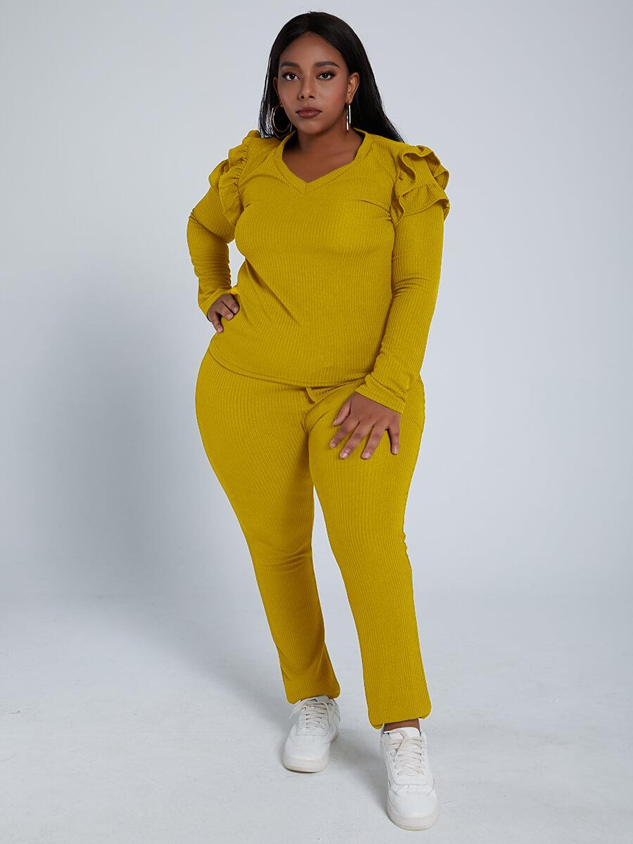 Lovely Trendy V Neck Flounce Design Yellow Plus Si