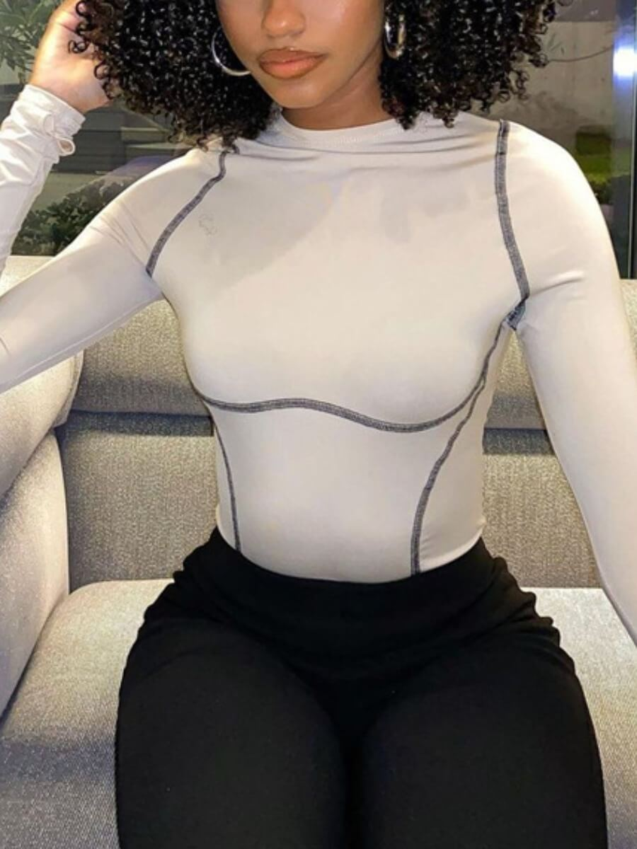 Lovely Casual O Neck Patchwork White Base Layer