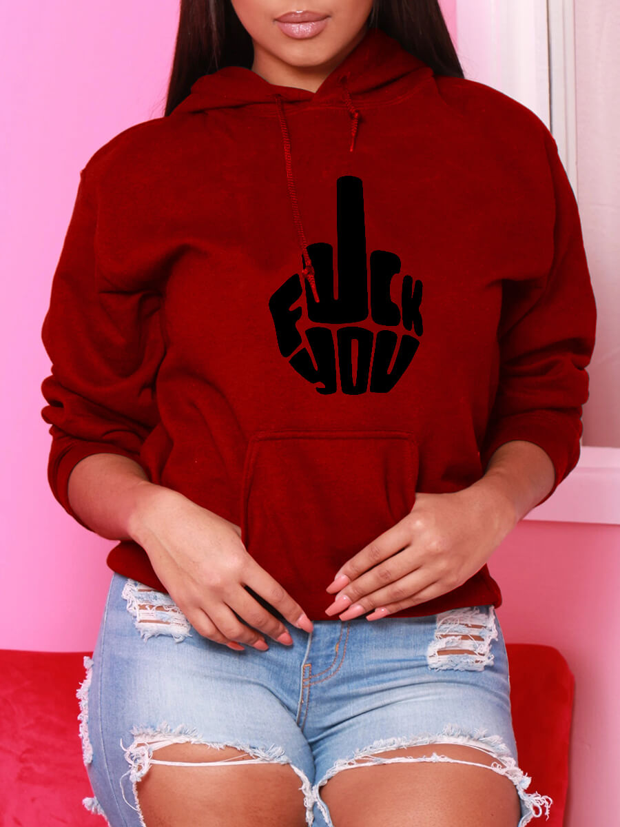 Lovely Casual Hooded Collar Print Red Hoodie