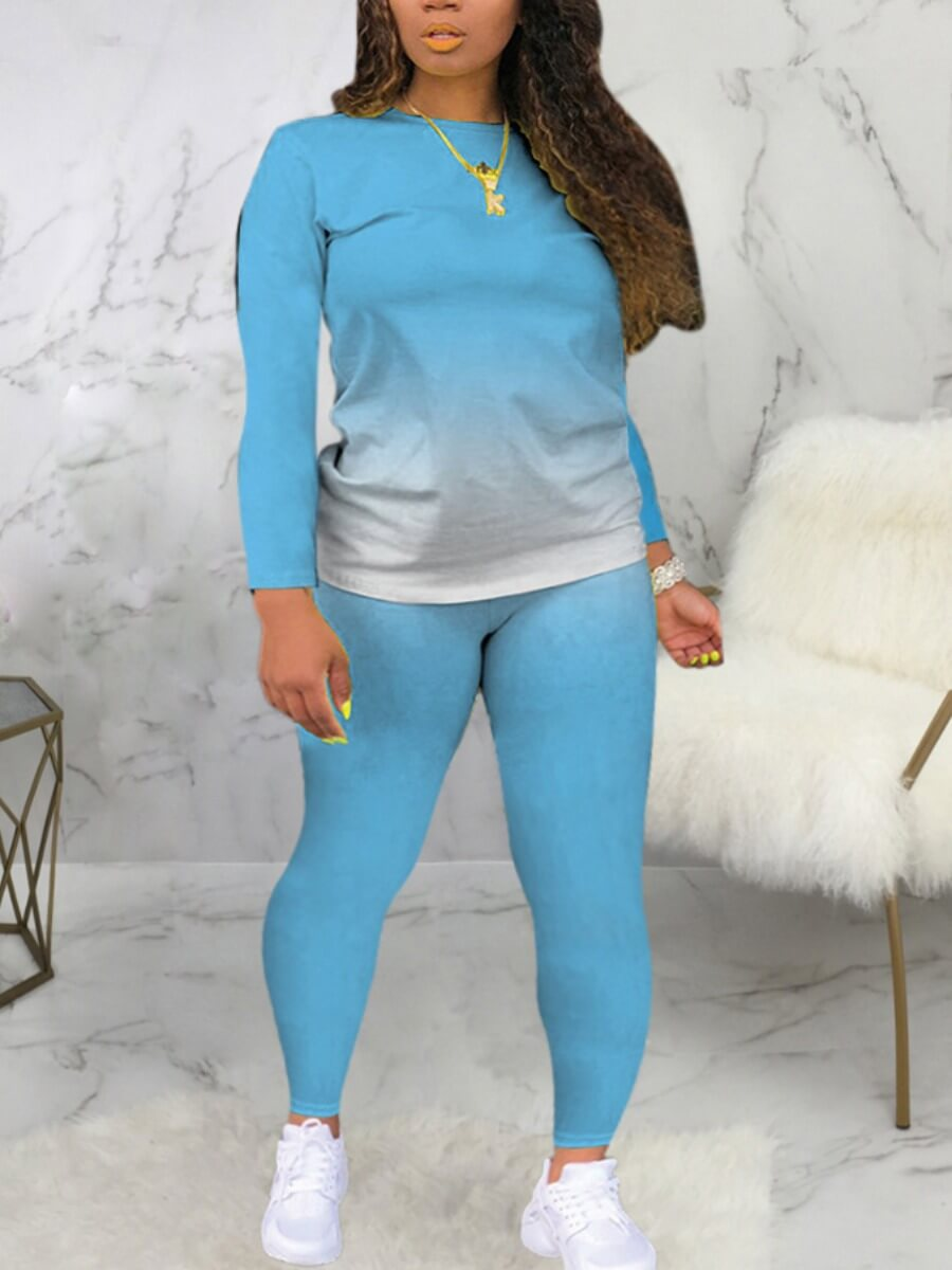 LW BASICS Casual O Neck Gradient Print Skyblue Two Piece Pants Set