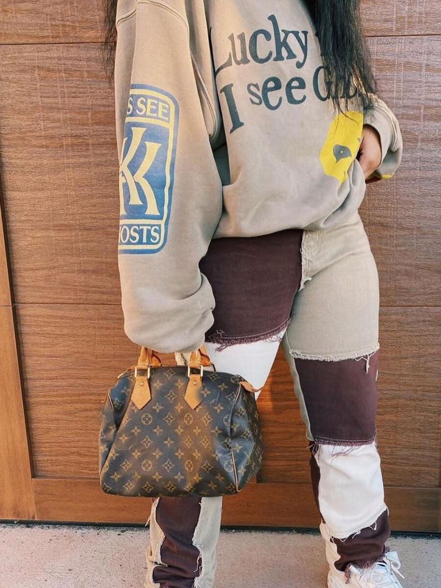 Lovely Trendy Color-lump Patchwork Coffee Jeans