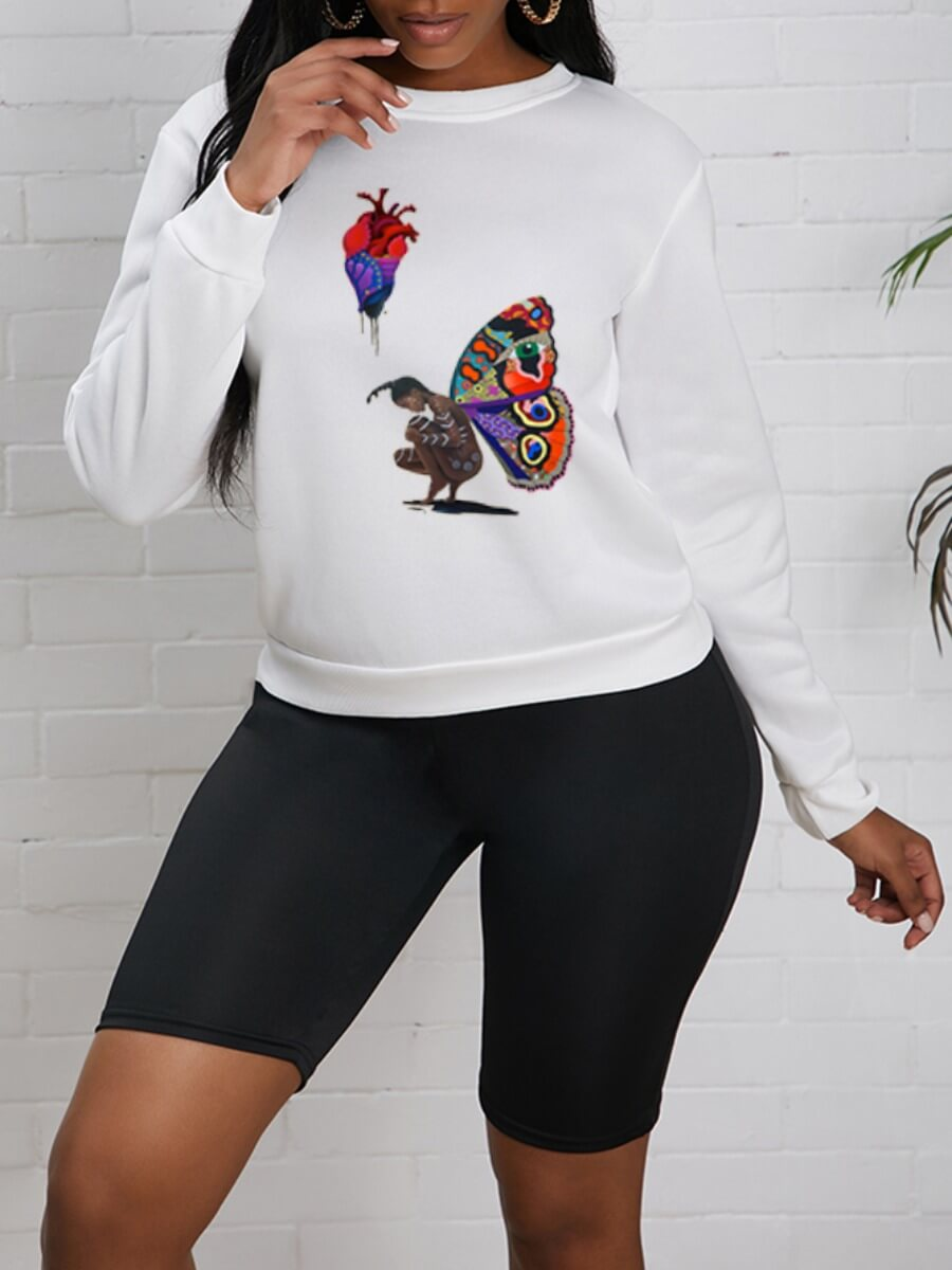 Lovely Casual O Neck Butterfly Print White Hoodie