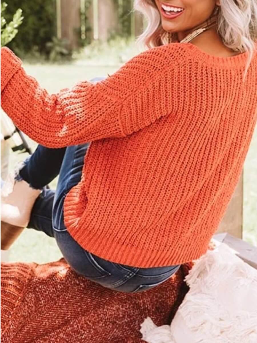 Lovely Casual O Neck Loose Orange Sweater