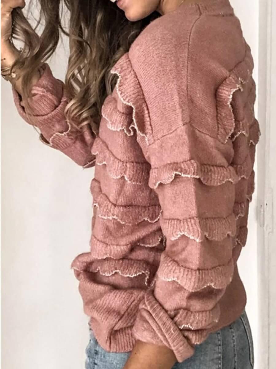 LW Chic Cascade Ruffle Pink Sweater