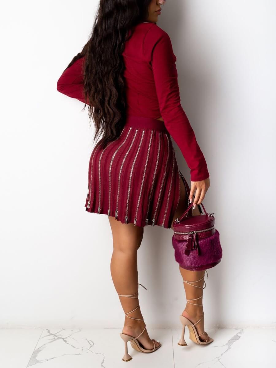 LW SXY Trendy Zipper Design Wine Red Skirt