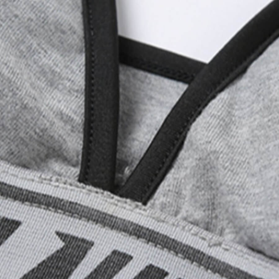 Lovely Sportswear Letter Patchwork Grey Bra Sets