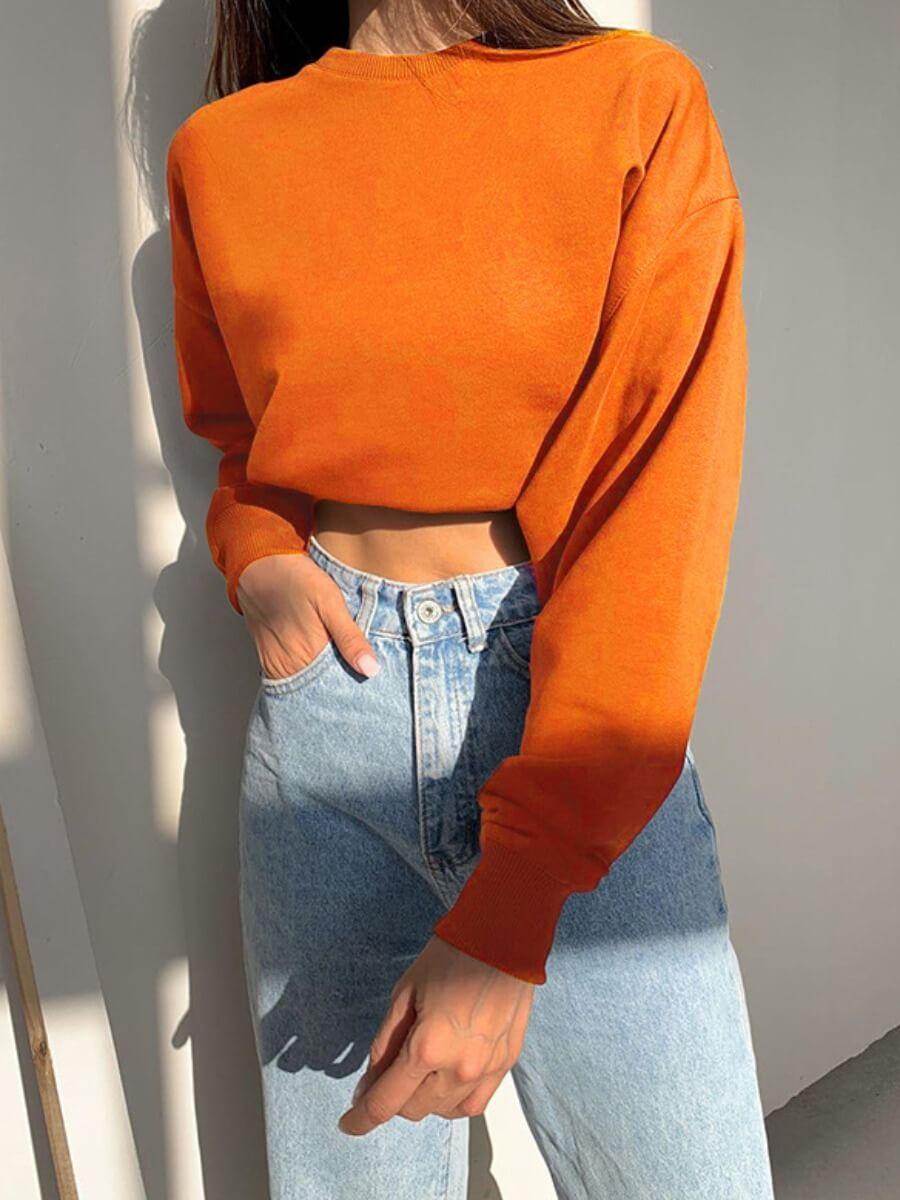 Lovely Casual O Neck Long Sleeve Orange Hoodie
