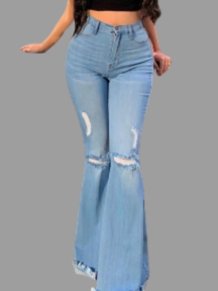 Lovely Trendy Flared Broken Holes Baby Blue Jeans