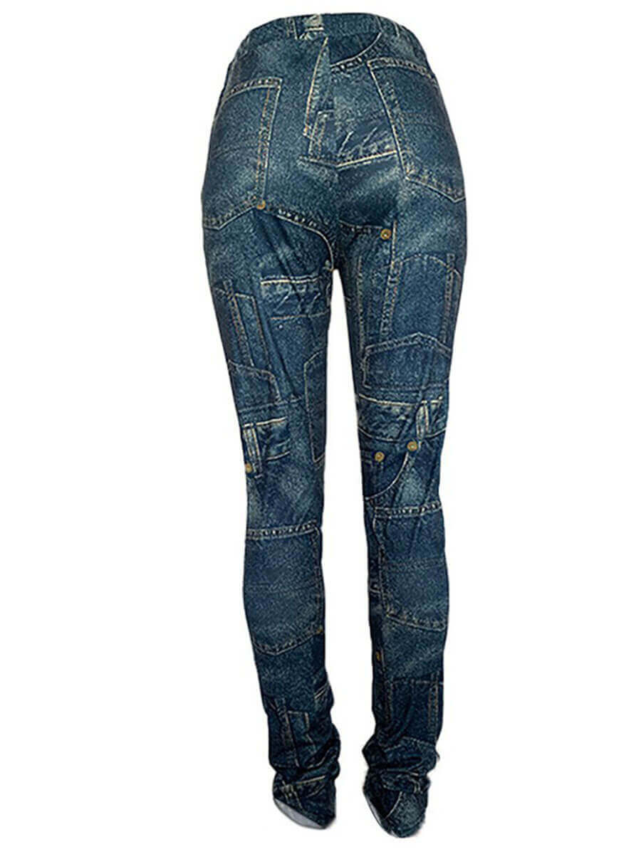 LW Plus Size Casual Print Skinny Blue Pants