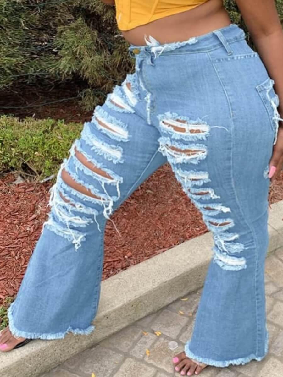 Lovely Street Broken Holes Blue Plus Size Jeans