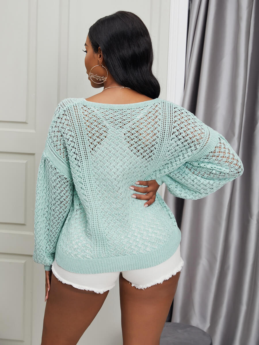 Lovely Sweet O Neck Hollow-out Blue Sweater