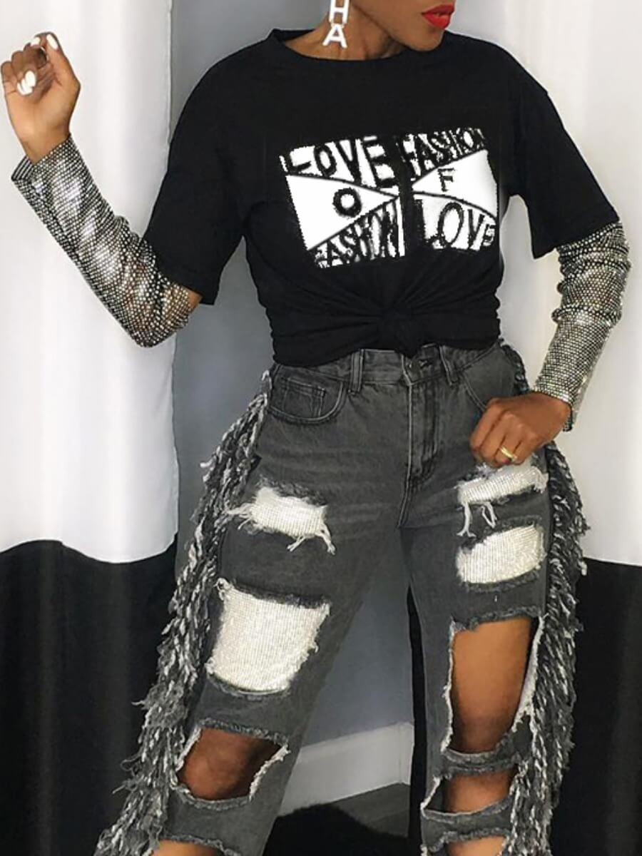 LW SXY Casual Letter Print Sequined Mesh Patchwork Black T-shirt