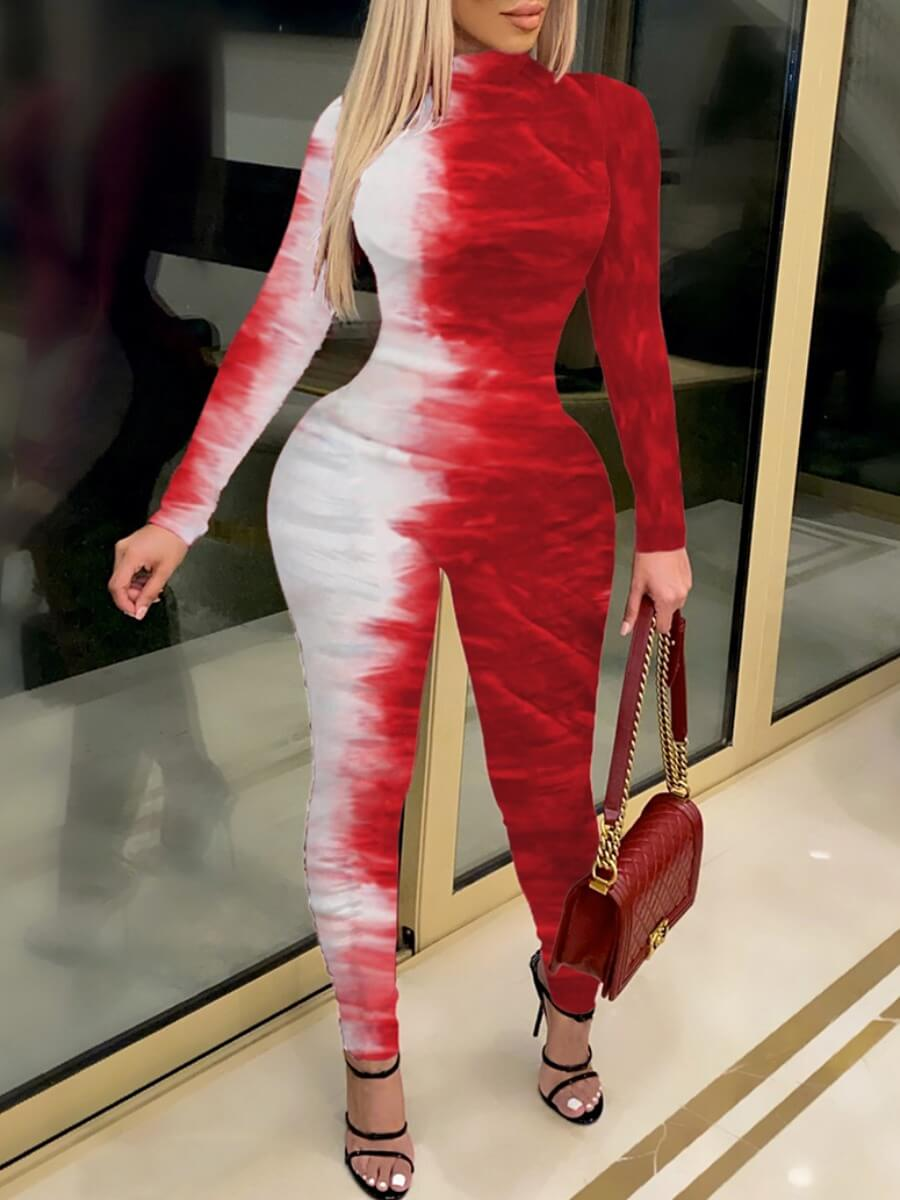 Lovely Street Tie Dye Print Red One-piece Jumpsuit