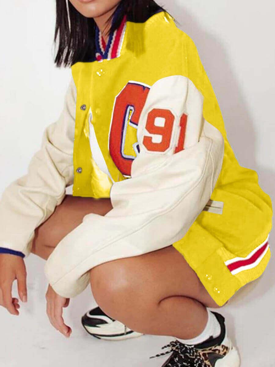 LW BASICS Street Patchwork Button Design Yellow Jacket