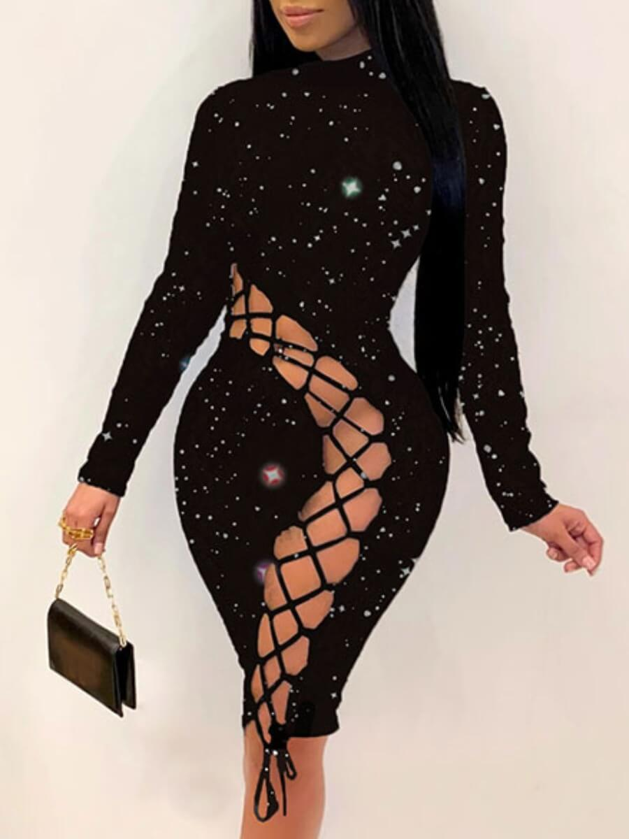 Lovely Sexy Bandage Hollow-out Design Starry Print