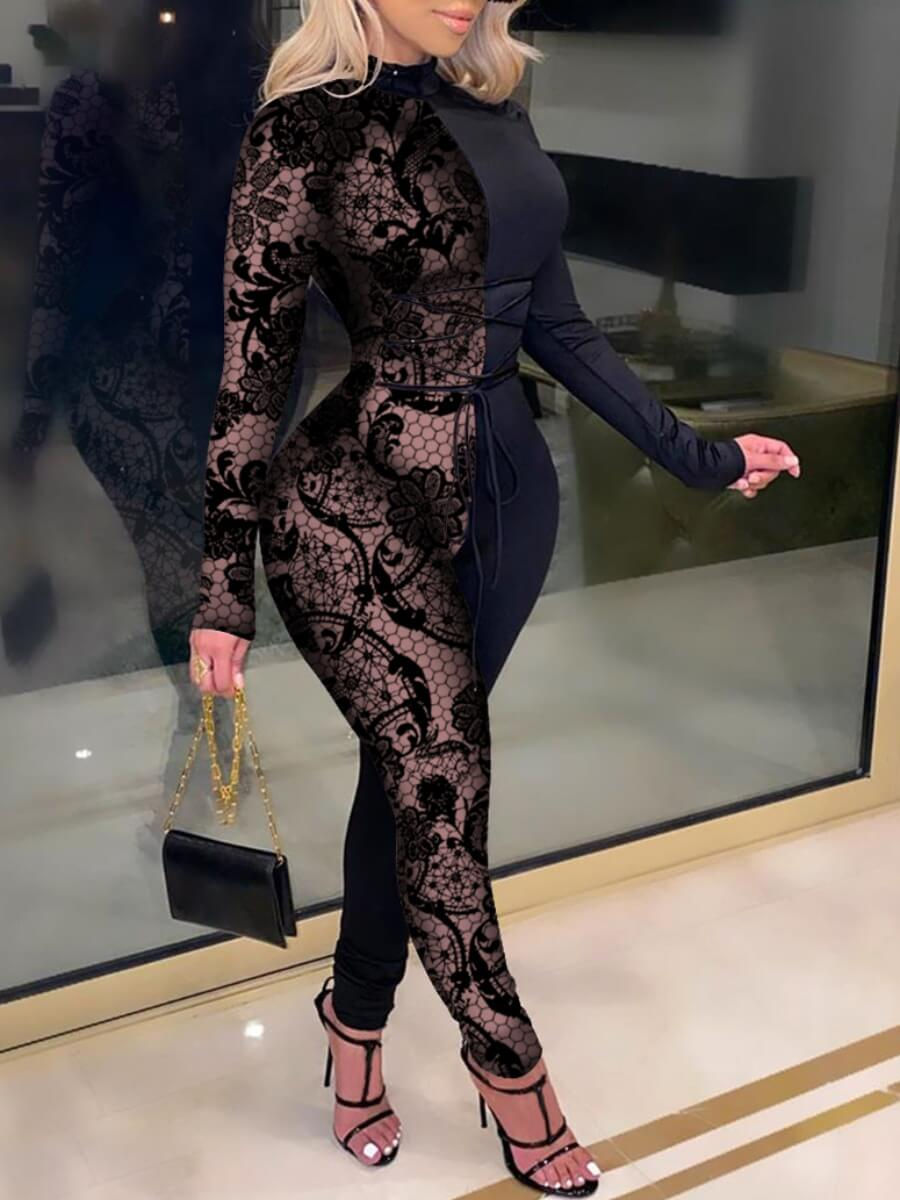 Lovely Street Sexy Patchwork See-through Black One