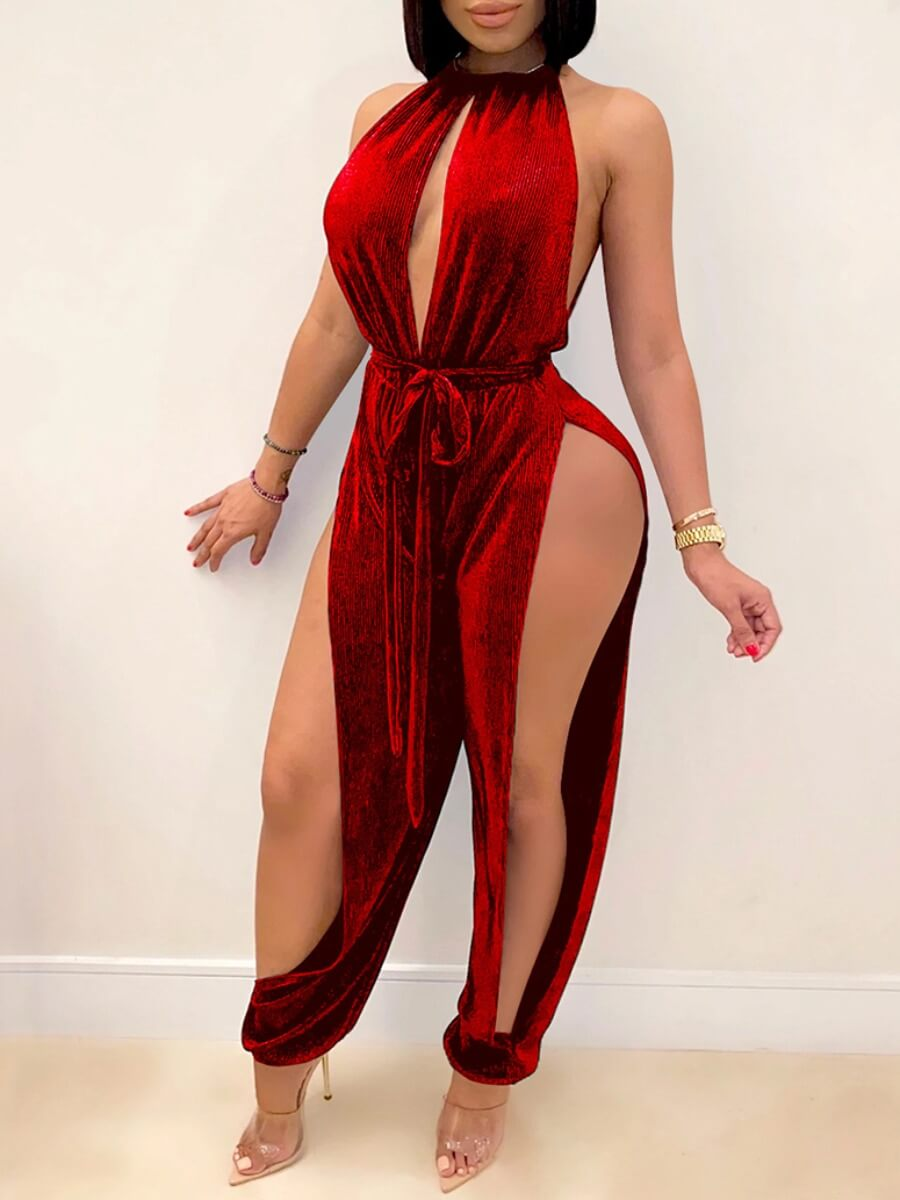 LW SXY Hollow-out Lace-up Red One-piece Jumpsuit