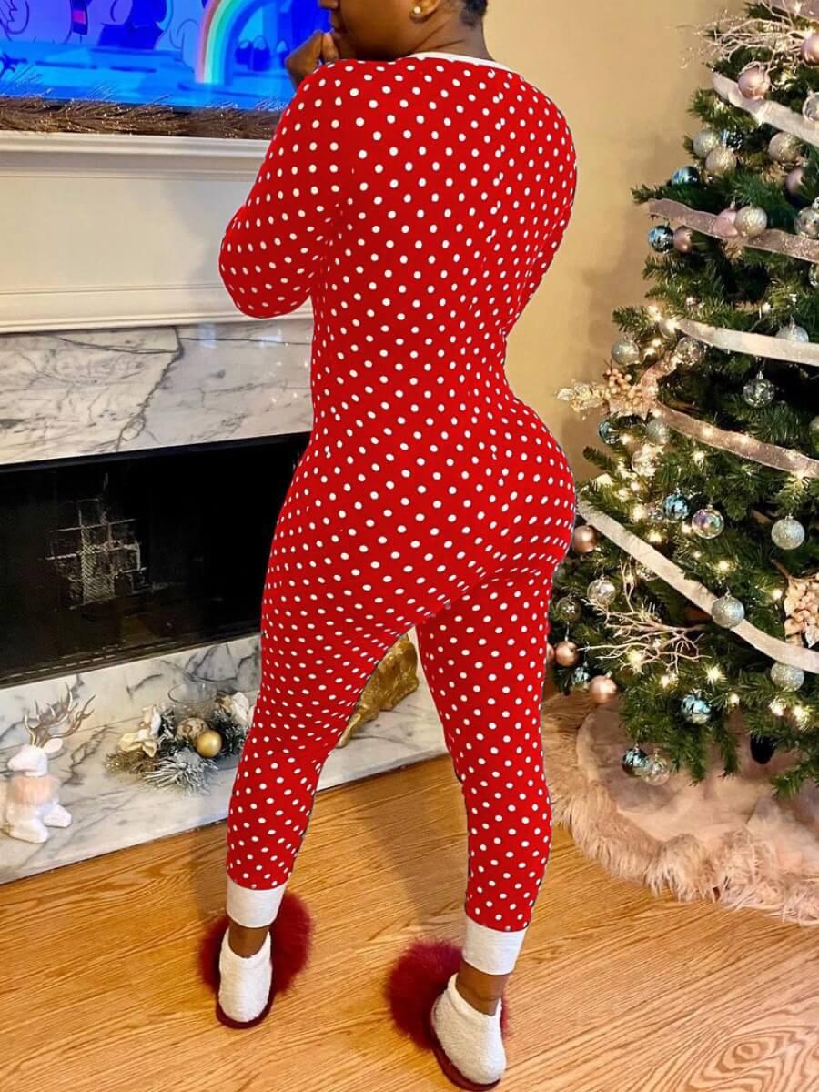 Lovely Casual V Neck Dot Print Red Sleepwear