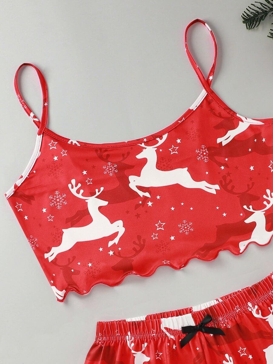 Lovely Animal Christmas Day Print Red Sleepwear