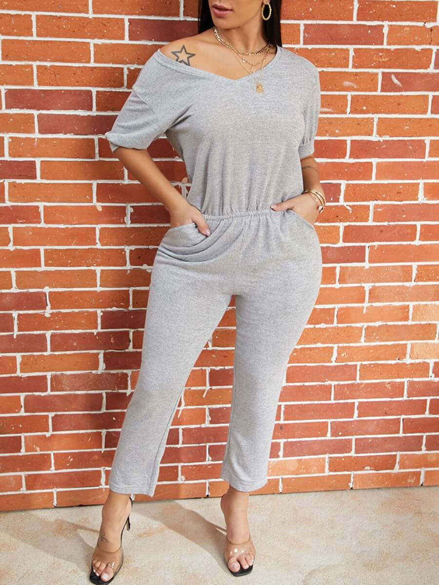 Lovely Casual Loose Grey Blending One-piece Jumpsu