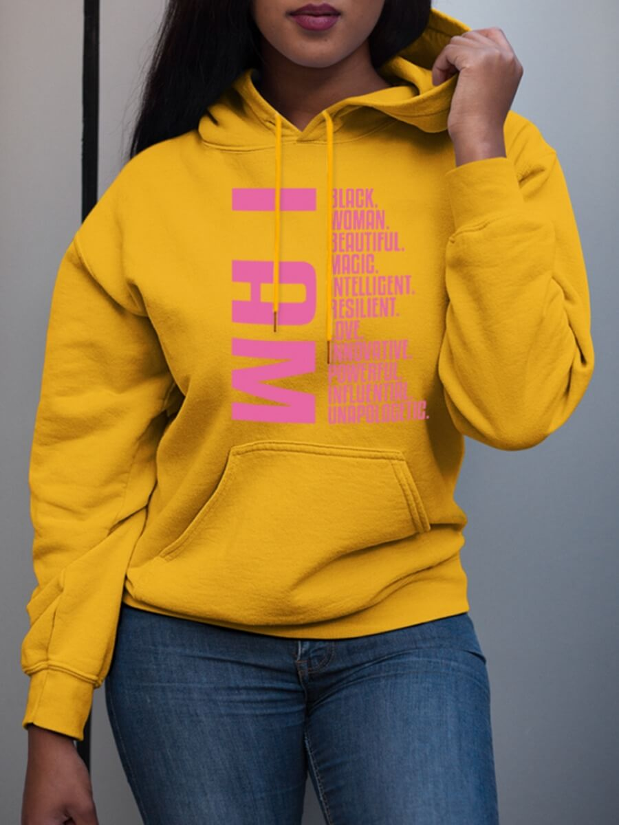 Lovely Leisure Hooded Collar Letter Print Yellow H