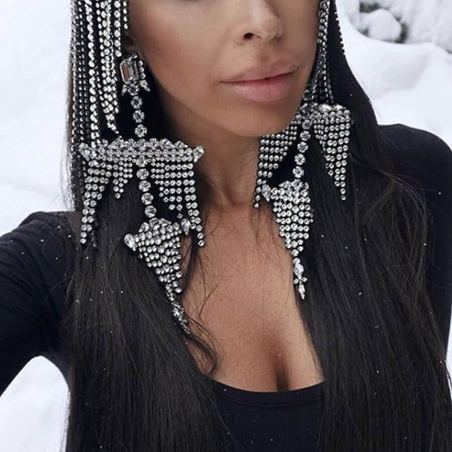 Lovely Trendy Tassel Design Silver Earring