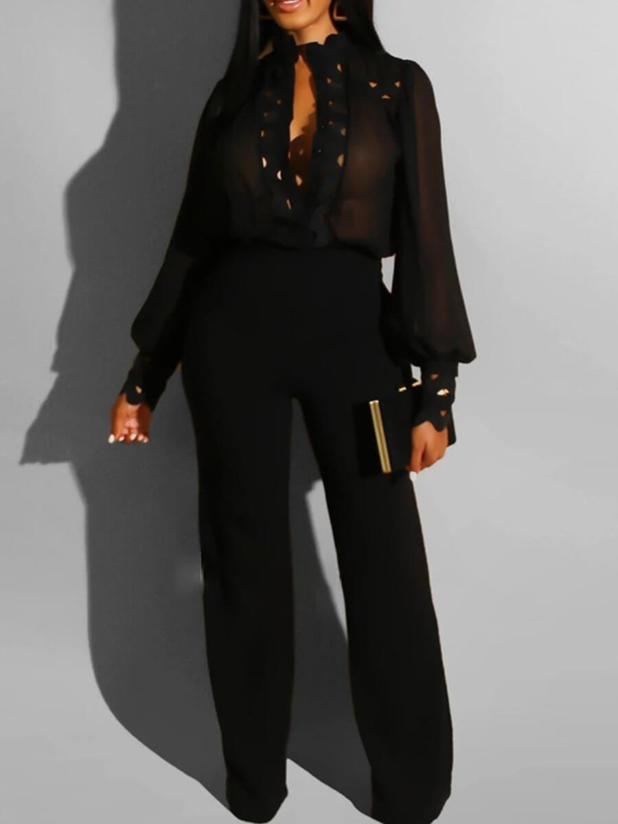 Lovely Formal Puffed Sleeve Hollow-out Black One-p