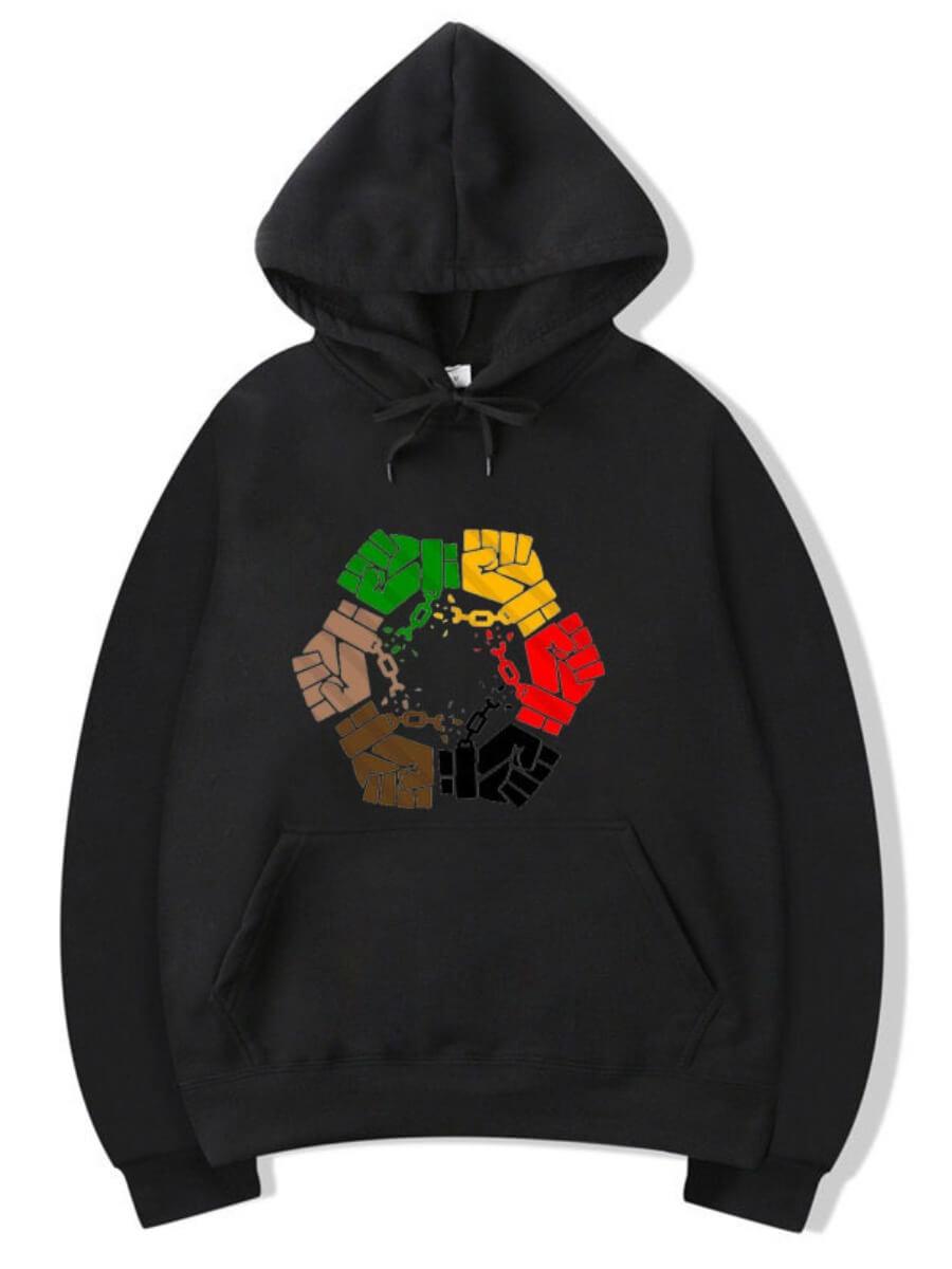 Lovely Casual Fist Print Kangaroo Pocket Black Men