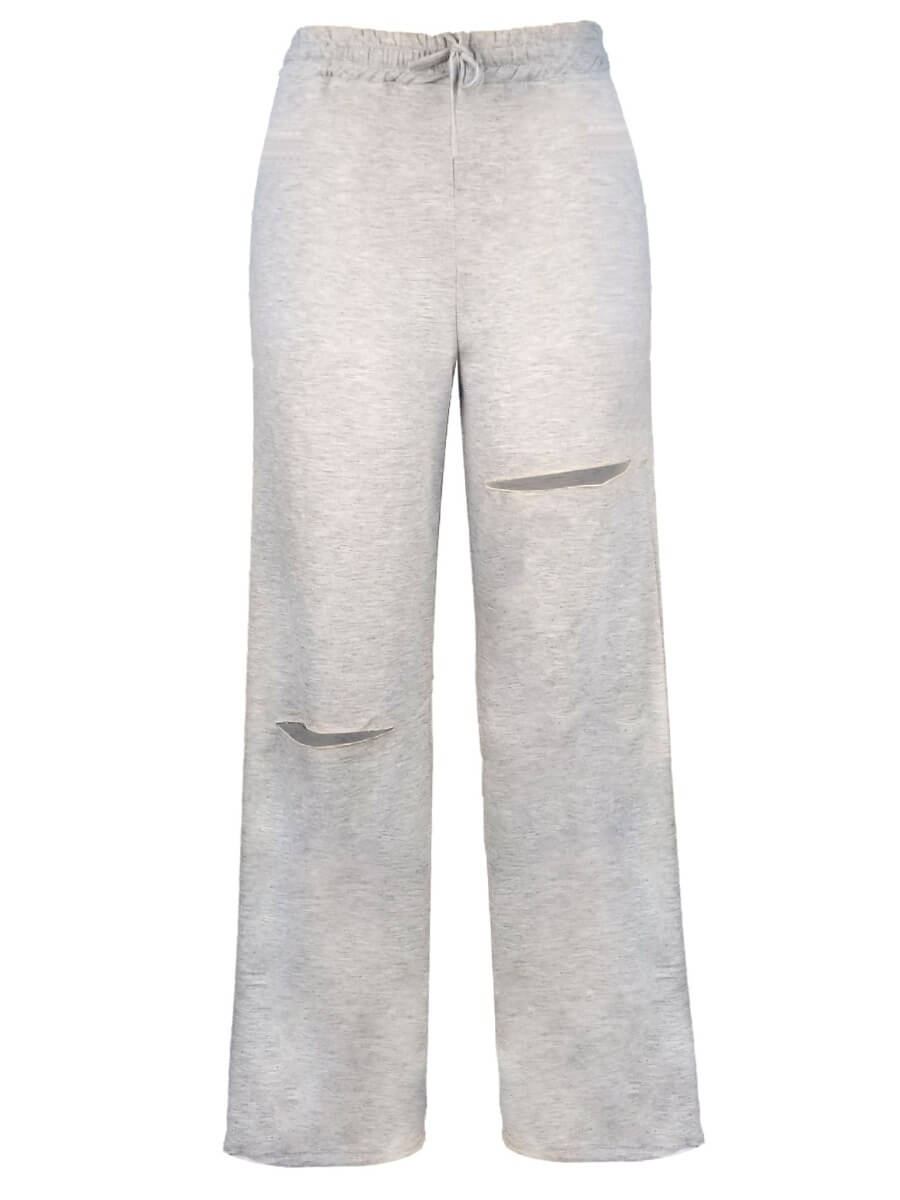 Lovely Street Flared Broken Holes Drawstring Grey