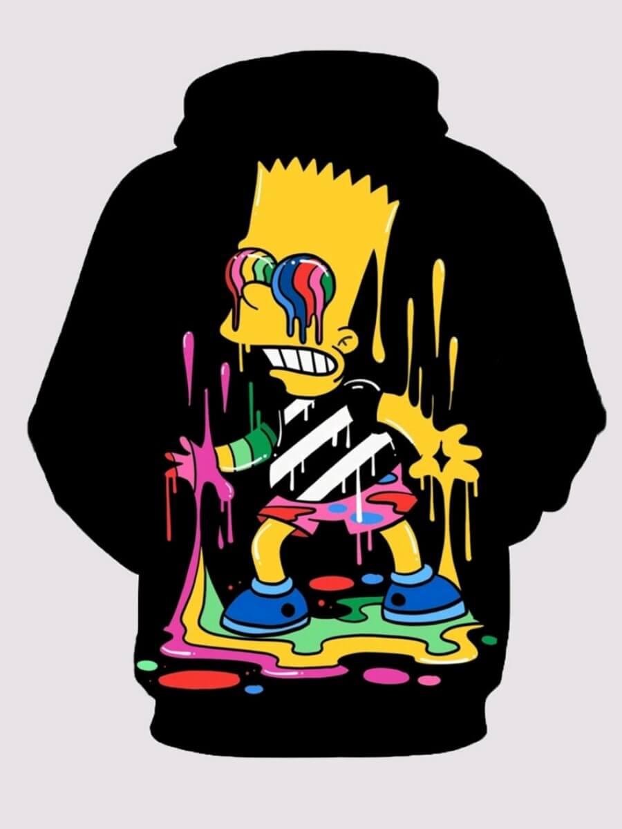 Lovely Street Hooded Collar Cartoon Print Black Bo