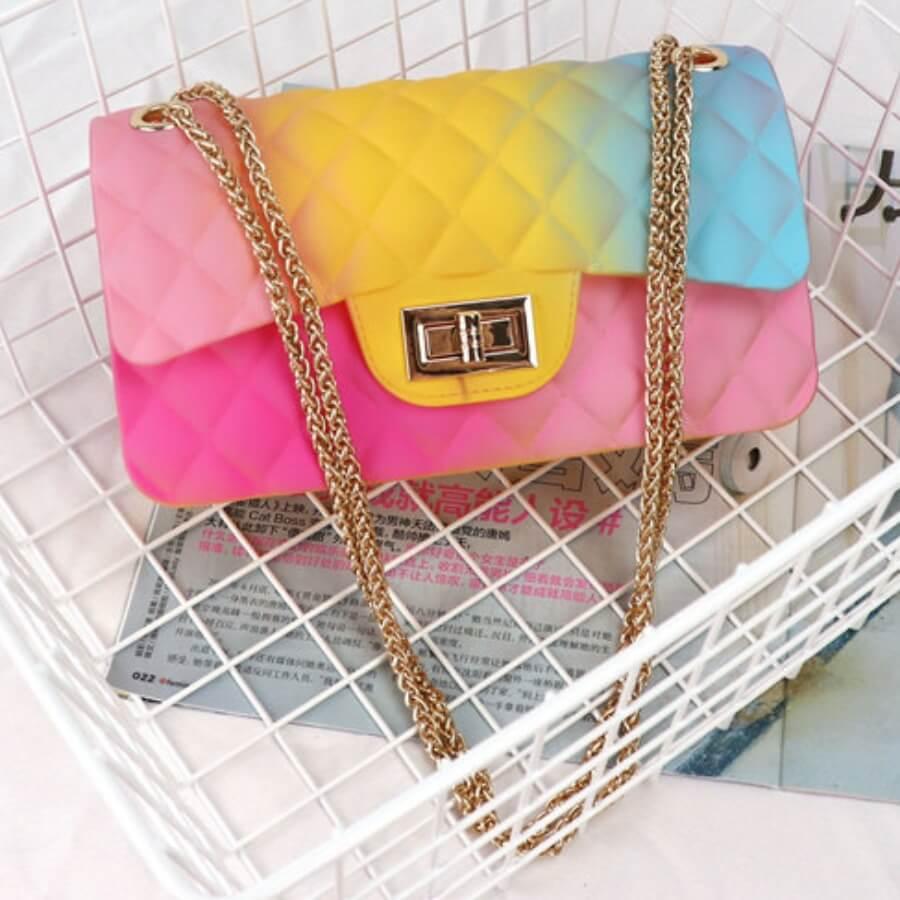 LW Fashion Gradient Design Yellow PV Crossbody Bag