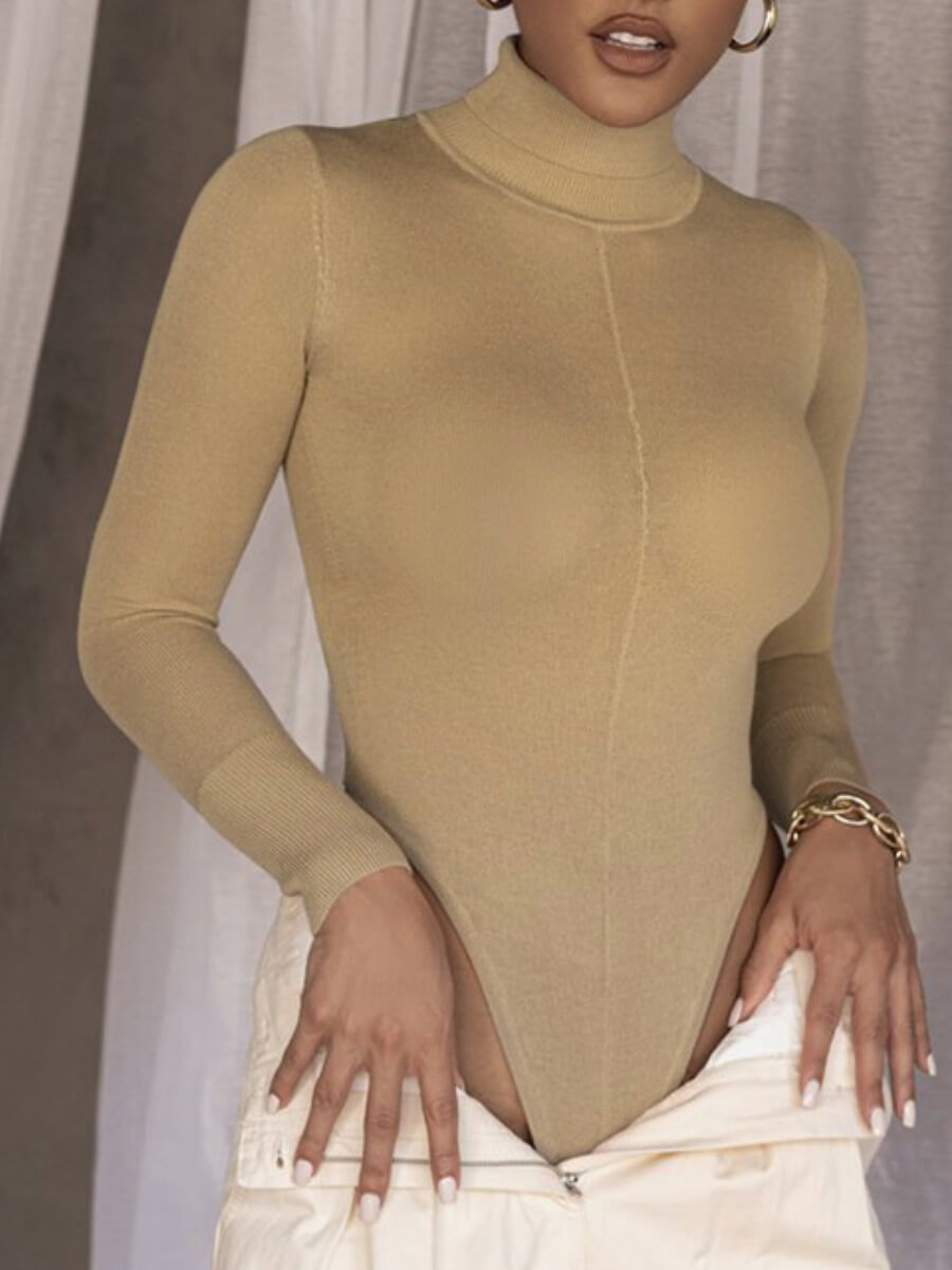 Lovely Sportswear Turtleneck Basic Skinny Apricot