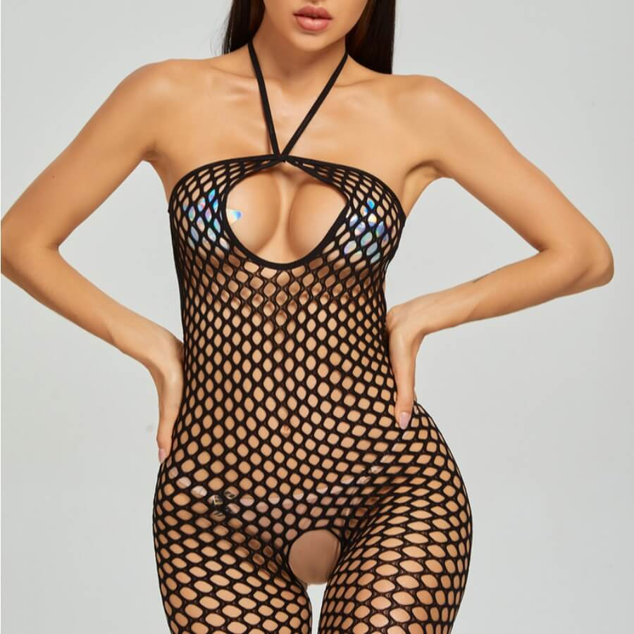 Lovely Halter Neck See-through Hollow-out Black Bo