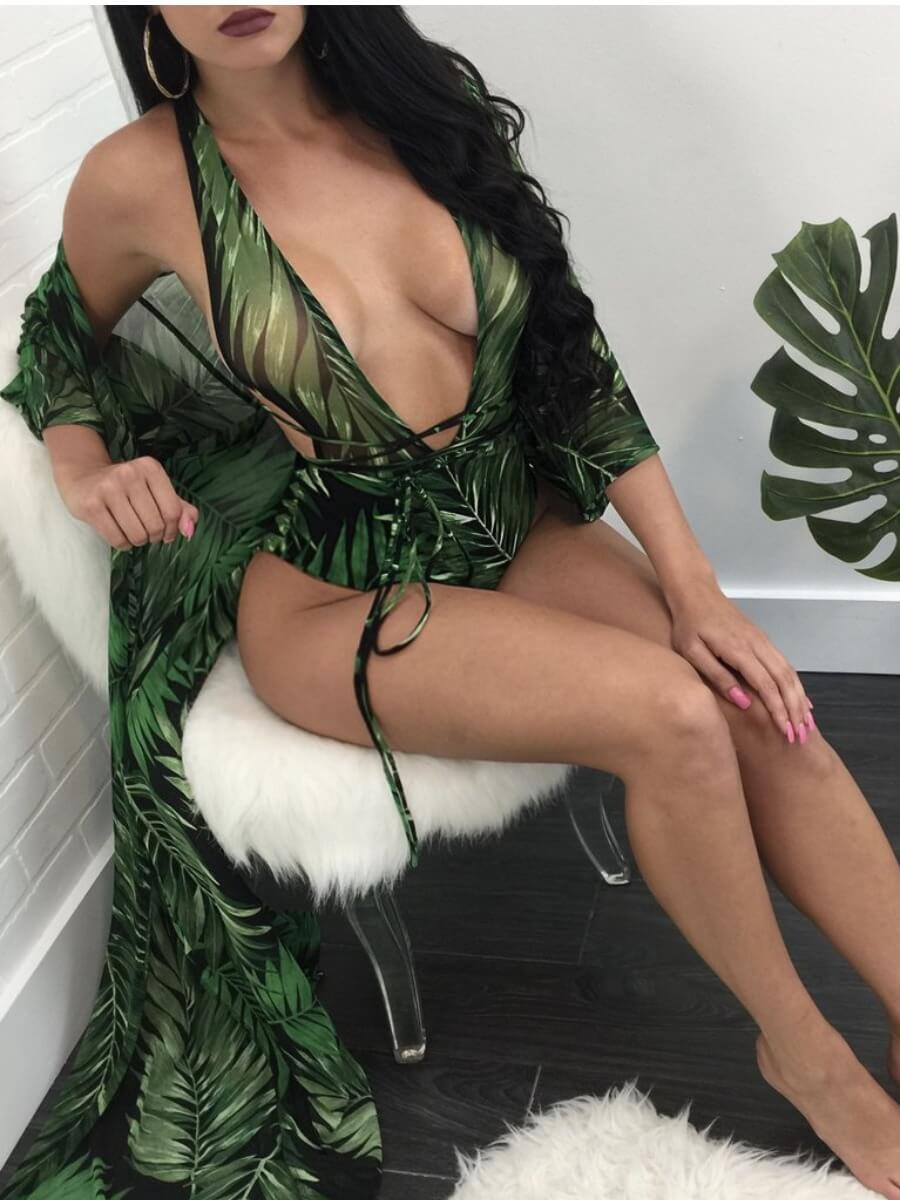 Lovely Bohemian Print Hollow-out Green Two-piece S