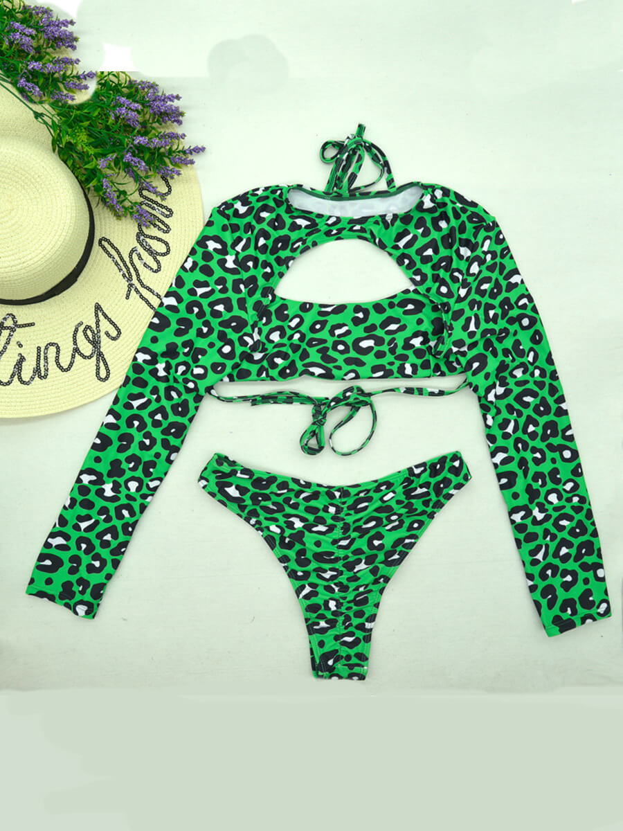 Lovely Leopard Print Hollow-out Green Two-piece Sw