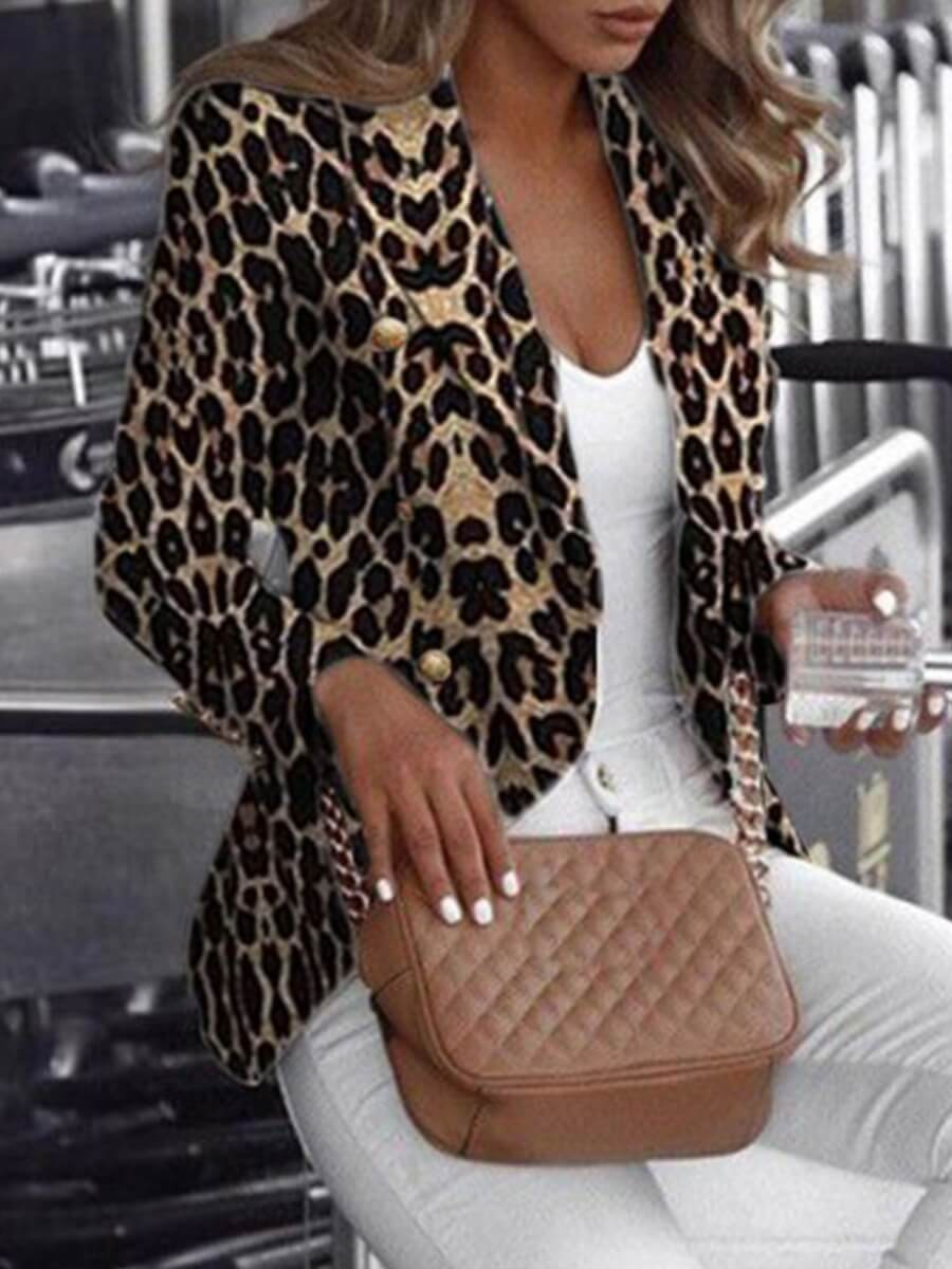 Lovely Work Turndown Collar Leopard Print Blazer