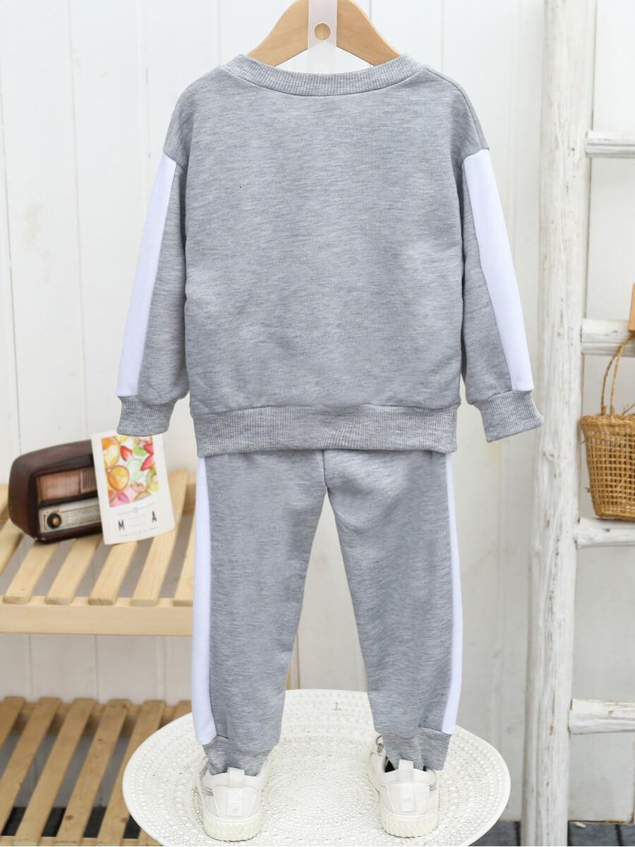 Lovely Sportswear O Neck Striped Grey Boy Two Piec