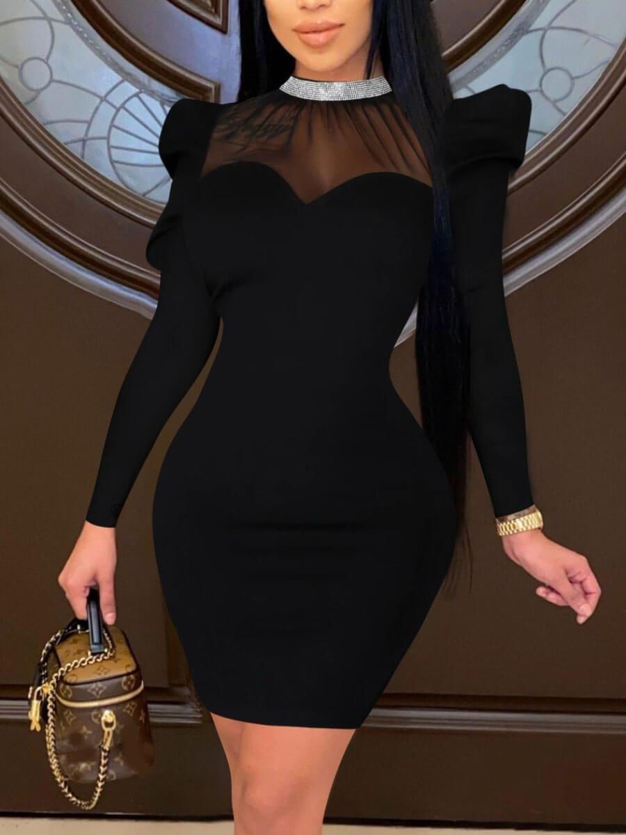 lovelywholesale / LW Lovely Sexy See-through Ruffle Design Black Mini Dress