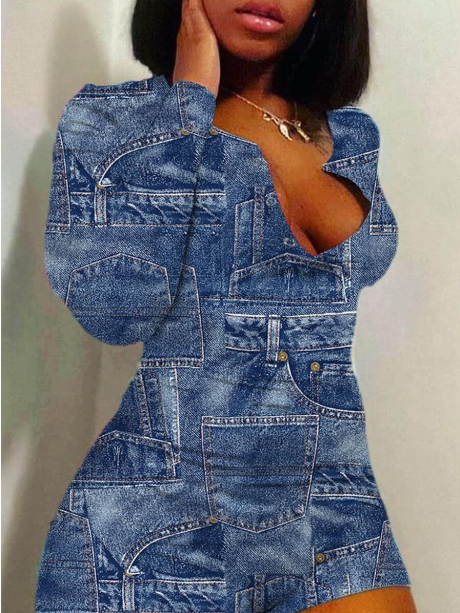 Lovely Casual V Neck Patchwork Blue One-piece Romp