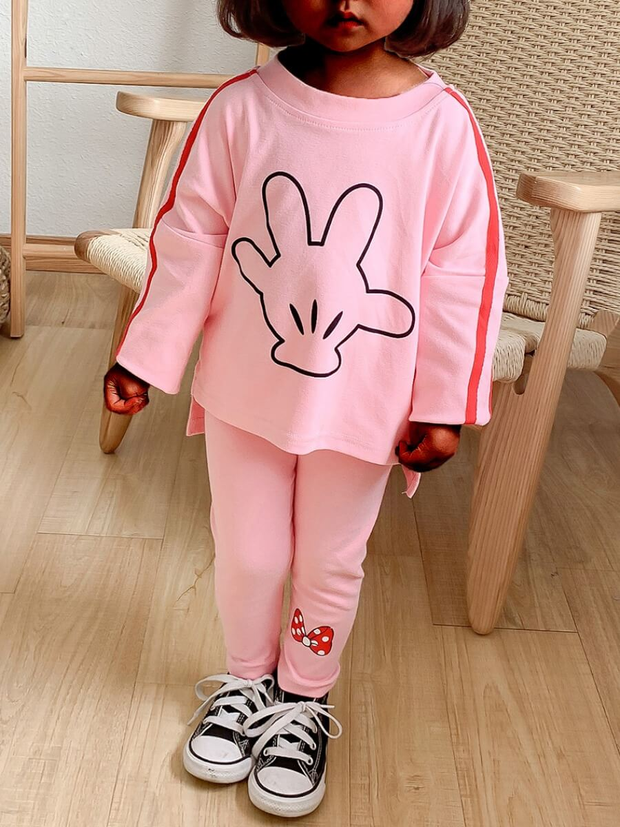 Lovely Sweet Butterfly Print Striped Pink Girl Two