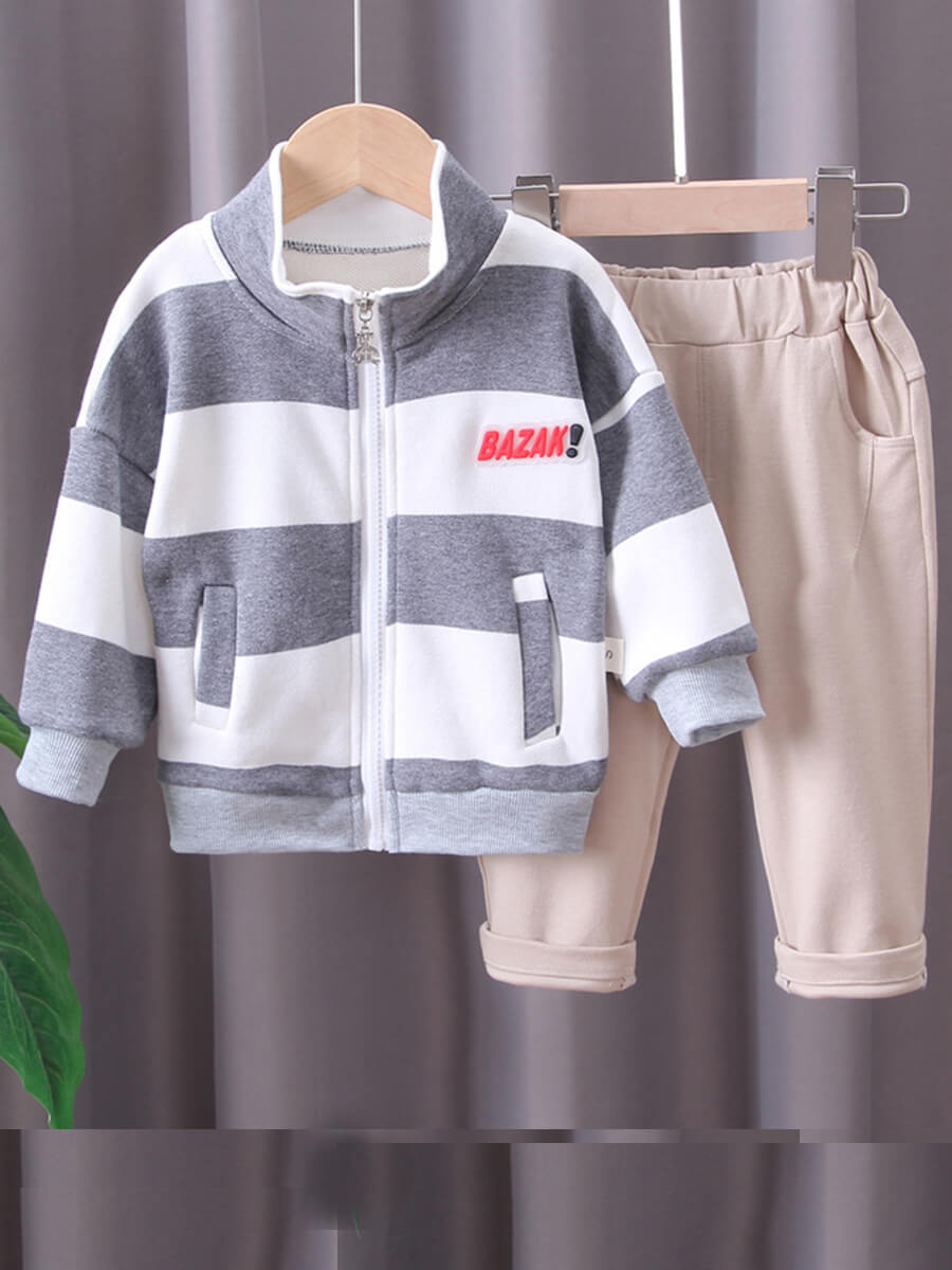 Lovely Casual Striped Patchwork Grey Boy Two Piece