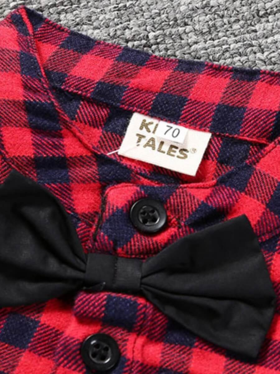 Lovely Formal Plaid Print Bow-tie Decoration Red A