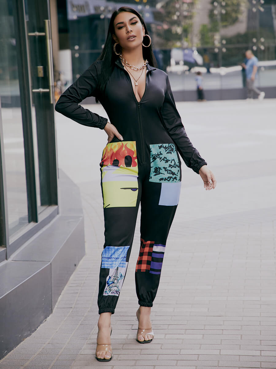 Lovely Stylish Turndown Collar Long Sleeve Print P