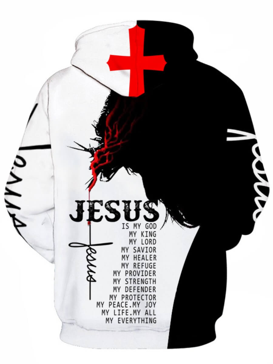 Lovely Stylish Letter Print Patchwork White Men Hoodie