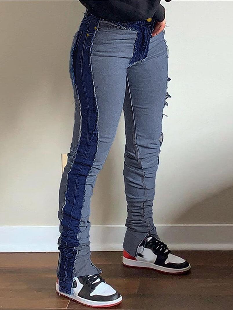 Lovely Street Patchwork Skinny Deep Blue Jeans
