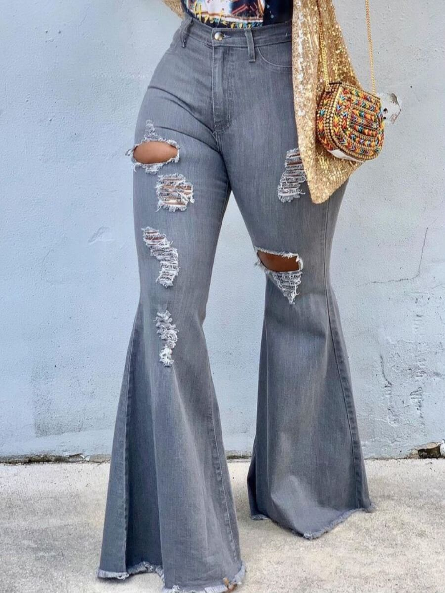 Lovely Casual High-waisted Broken Holes Grey Jeans