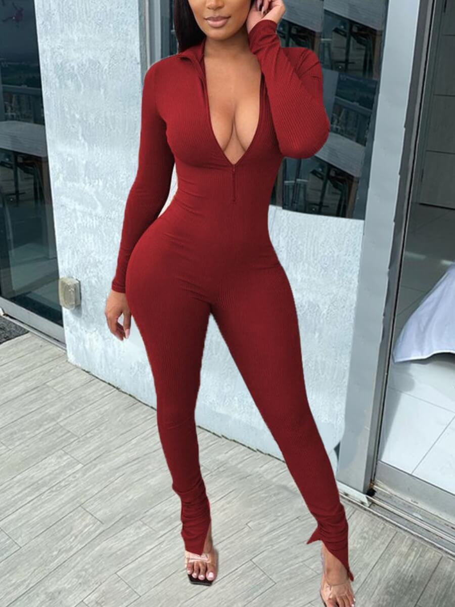 Lovely Sexy Deep V Neck Wine Red One-piece Jumpsui