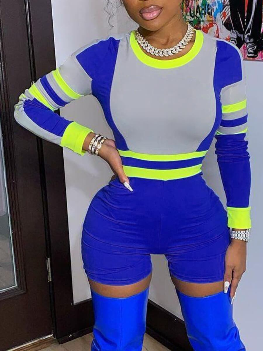 Lovely Sportswear O Neck Patchwork Blue One-piece