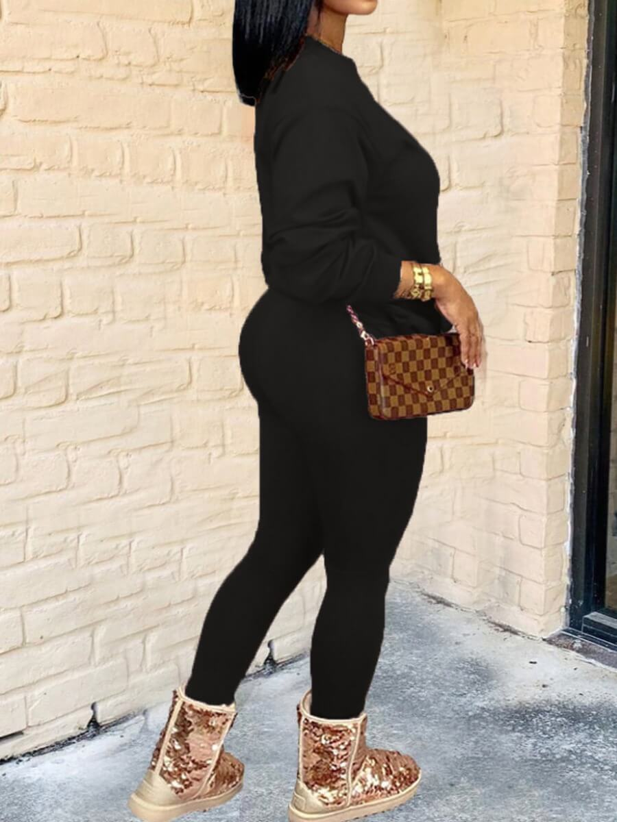 Lovely Casual Letter Print Black Two Piece Pants S