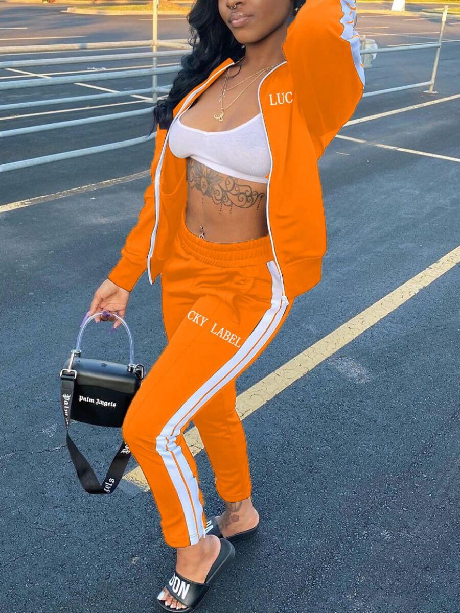 LW Sportswear Letter Patchwork Croci Two Piece Pants Set
